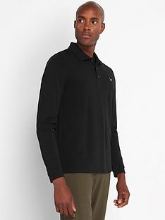 lyle-scott-long-sleeve-pique-polo-shirt-blacknbsp