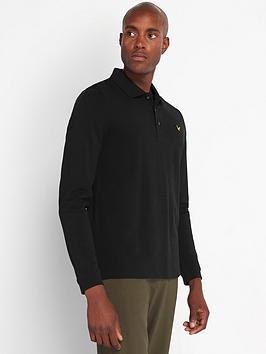 lyle-scott-long-sleeve-pique-polo-shirt-blacknbsp