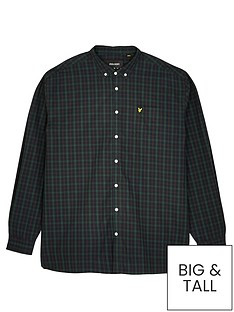 lyle-scott-big-check-poplin-shirt-navygreennbsp