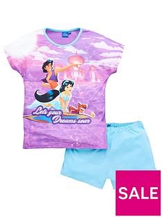 prod1089544847: Girls Disney Aladdin Let Your Dreams Soar Shortie PJs- Purple