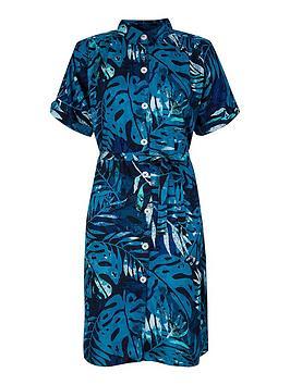 monsoon-palm-print-sustainable-viscose-shirt-dress-blue