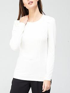 v-by-very-puff-sleeve-seamed-detail-top-white