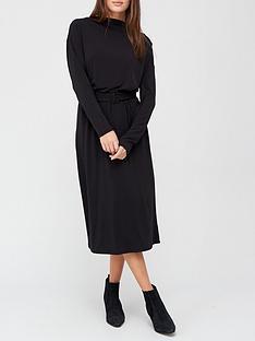 prod1089983810: Drape Neck Long Sleeve Midi Dress - Black
