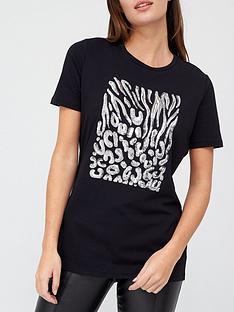 prod1089983790: Sequin Detail T-Shirt - Black