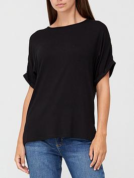 v-by-very-roll-sleeve-tunic-top-black