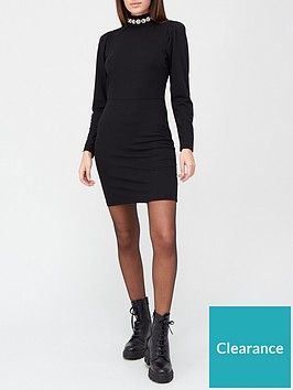 v-by-very-collar-trim-high-neck-mini-dress-black