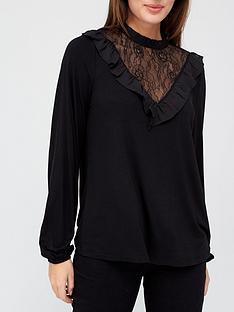 prod1089984267: Lace Yoke Frill Long Sleeve Top - Black