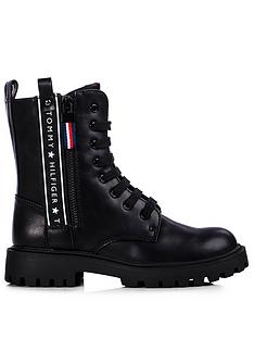 tommy-hilfiger-girls-logo-lace-up-boot-black