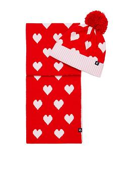 joules-girls-snowy-spotted-hat-ampnbspscarf-set-red