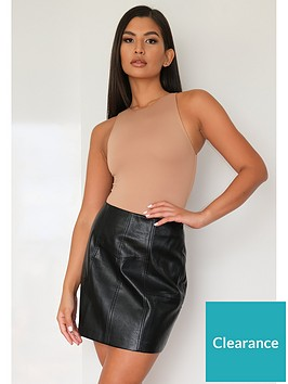 missguided-missguided-faux-leather-panel-detail-mini-skirt-black