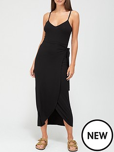 v-by-very-jersey-wrap-midi-dress-black