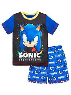 sonic-the-hedgehog-boys-sonic-the-hedgehog-contrast-sleeve-shorty-pjs-black