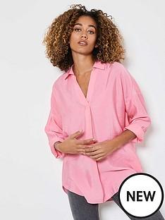 mint-velvet-oversizednbspthrow-on-shirt-pink