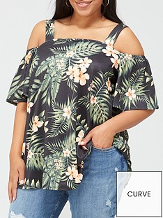 v-by-very-curve-printed-cold-shoulder-top-tropical-print