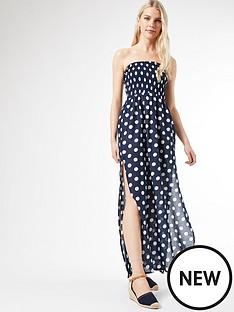 dorothy-perkins-navy-spot-bandeau-maxi-dress