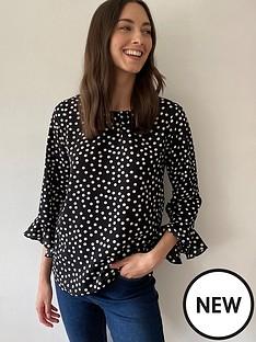 wallis-spot-frill-sleeve-blouse-black