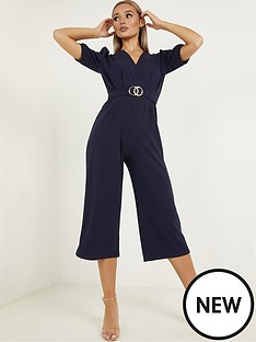 quiz-belted-puff-sleeve-wrap-front-culotte-jumpsuit-navy
