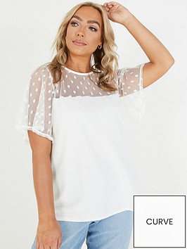 quiz-curve-mesh-polka-dot-top-white