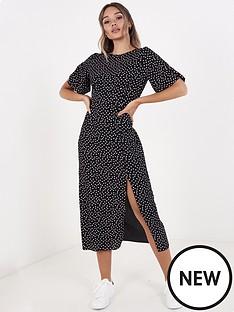 quiz-crepe-polka-dotnbspsplit-front-dress-black