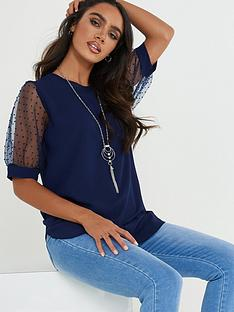 quiz-bub-crepe-mesh-polka-dot-necklace-top-navy
