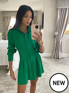michelle-keegan-linen-pleat-front-shirt-dress-green