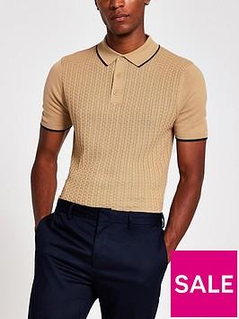 river-island-short-sleeve-basket-weave-polo-shirt-beige