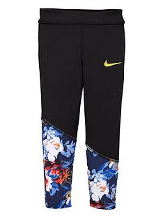 nike-younger-girls-floral-leggings-black