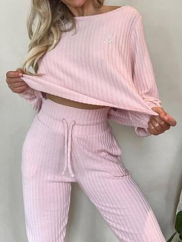 gym-king-ribbed-loose-fit-crew-top-pink