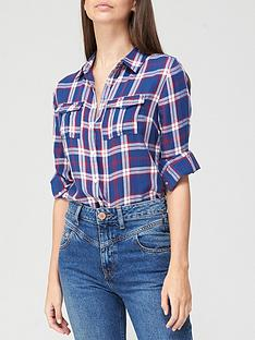 v-by-very-valuenbspchecked-shirt-navy