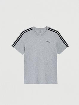 adidas-plus-size-essential-3-stripe-t-shirt-grey