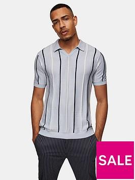 topman-revere-collar-knitted-polo-t-shirt-blue