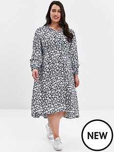 evans-evans-navy-floral-print-tie-neck-skater-dress