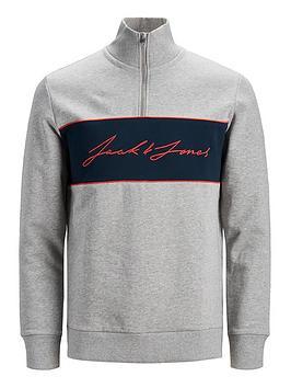 jack-jones-junior-boys-logo-half-zip-sweat-grey-marl