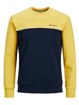 jack-jones-junior-boys-colourblock-crew-sweat-yellow