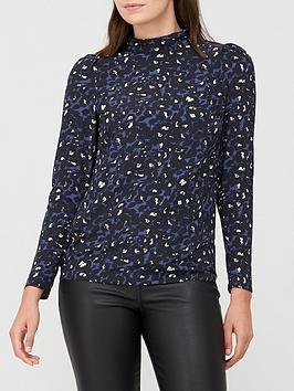 v-by-very-printed-high-neck-long-sleeve-shell-top-blueanimal