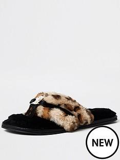 river-island-leopard-print-pearl-trim-flip-flop-slipper-black