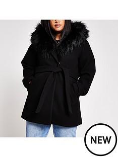 ri-plus-ri-plus-faux-fur-trim-hooded-belted-short-coat-black
