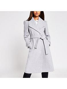 river-island-puff-sleeve-belted-smart-coat-grey