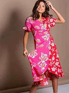 pour-moi-frill-detail-woven-midi-wrap-dress-pink-floral