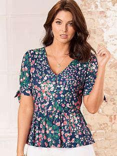 pour-moi-slinky-jersey-tie-sleeve-top-navy-floral