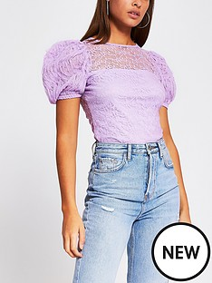 river-island-lace-puff-sleeve-top-purple