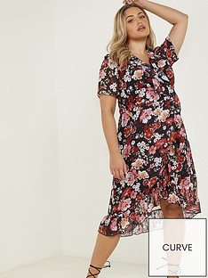 quiz-curve-floral-chiffon-midi-dress-blackred