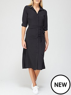 v-by-very-three-quarternbspsleeve-shirt-dress-black