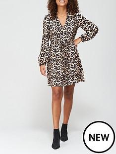 v-by-very-v-neck-drawstring-mini-dress-leopard