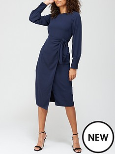 v-by-very-tie-waist-midi-dress-navy
