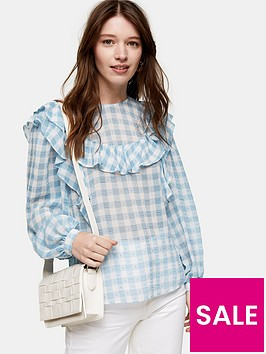 topshop-gingham-long-sleeve-frill-blouse-blue