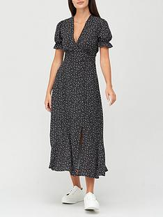 v-by-very-v-neck-frill-tea-dress-mono-print