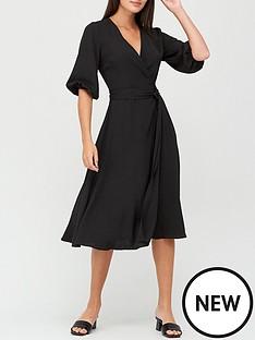 v-by-very-three-quarter-sleeve-wrap-dress-black