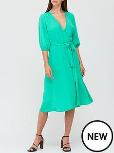v-by-very-long-sleeve-wrap-dress-green