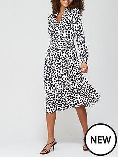 v-by-very-notch-neck-tie-midi-dress-spot-print